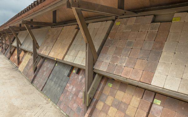 Bricks on display at a nursery garden market